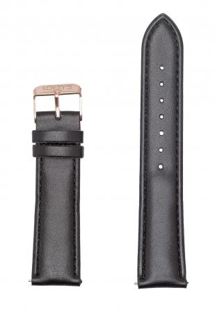 Black Genuine Leather Strap 20mm
