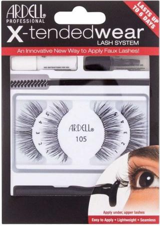 Ardell X-Tended Wear Lash System 105 False Eyelashes Black 1pc Combo: False Lashes X-Tended 105 1 Pair + Lash Glue X-Tended Wear 1 G + Applicator 1 Pc + Lash Remover 1 G + Lash Brush 1 Pc