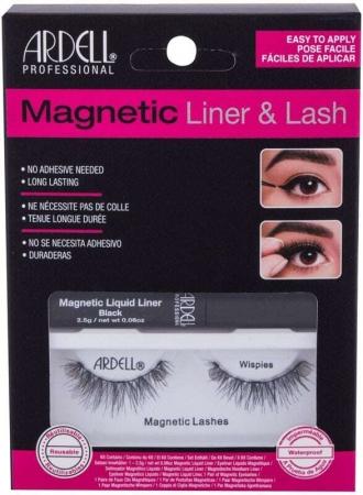 Ardell Magnetic Liner & Lash Wispies False Eyelashes Black 1pc Combo: Magnetic Lashes Wispies 1 Pair + Magnetic Liquid Liner 2,5 G Black