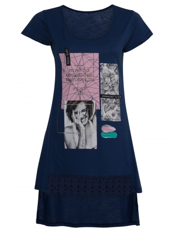 Asymmetrical Blouse With Remember to Smile Print
