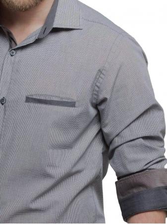 Pie De Poule Mens Shirt With Corduroy Details