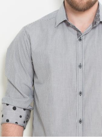 Slim fit long sleeve stripe shirt in grey
