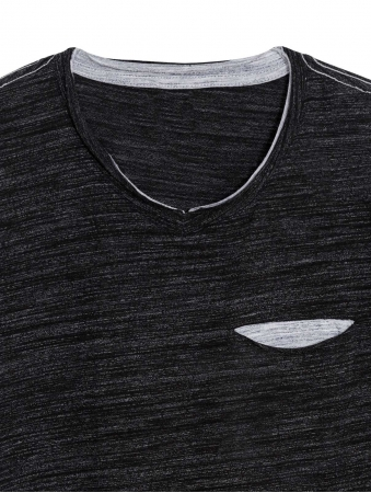 Men's Charcoal V Neck T Shirt
