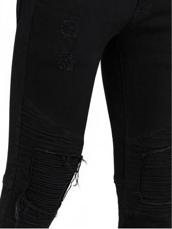 Black Skinny Jean With Biker Knee Detail