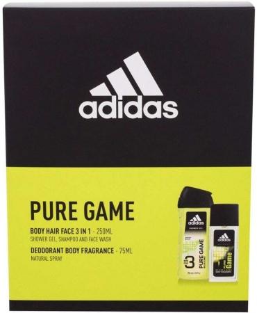 Adidas Pure Game Deodorant 75ml Combo: 75ml Deospray + 250ml Shower Gel (Deo Spray - Aluminium Free)