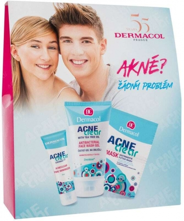 Dermacol AcneClear Day Cream 50ml Combo: Facial Gel-Cream AcneClear 50 Ml + Cleansing Gel AcneClear 150 Ml + Face Mask AcneClear 2 X 8 G (Young Skin - For All Ages)