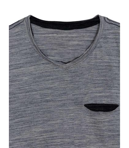 T-Shirt με Τσέπη και Μικρό V στη Λαιμόκοψη - Γκρί