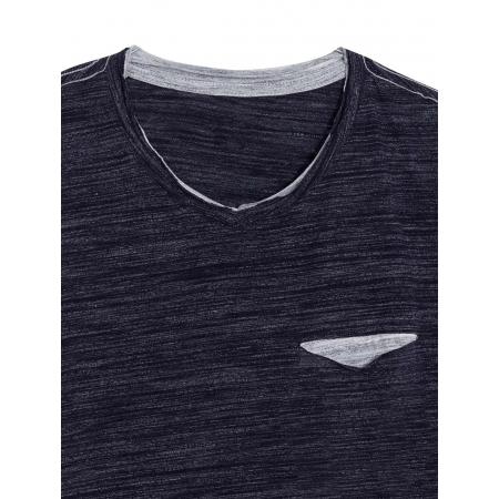 T-Shirt με Τσέπη και Αντιθέσεις - Navy
