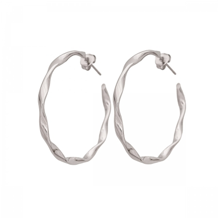 Silver Tone Twisted Hoop Earrings