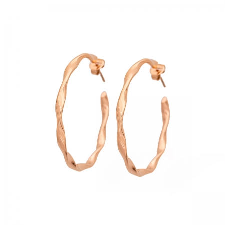 Rose Gold Twisted Hoop Earrings