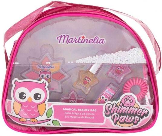 Martinelia Shimmer Paws Magical Beauty Bag Eye Shadow 2,8gr Combo: Eye Shadow 2,8 G + Lip Shine 2 G + Lip Stick 1,8 G + Nail Polish 2 X 3 Ml + Hair Rubber Band + Cosmetic Bag