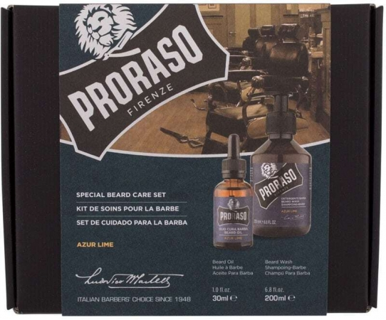 Proraso Azur Lime Special Beard Care Set Shampoo 200ml Combo: Beard Shampoo Azur Lime 200 Ml + Beard Oil Azur Lime 30 Ml