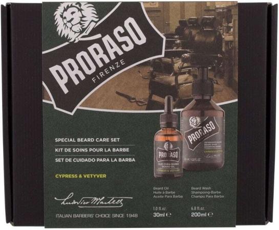 Proraso Cypress & Vetyver Special Beard Care Set Shampoo 200ml Combo: Beard Shampoo Cypress & Vetyver 200 Ml + Beard Oil Cypress & Vetyver 30 Ml