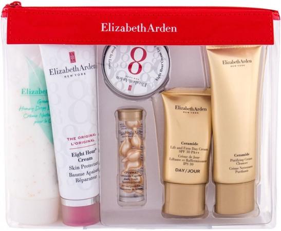 Elizabeth Arden Eight Hour Cream Skin Protectant Travel Essentials Kit Body Balm 50ml Combo: Body Balm 50 Ml + Skin Serum 3,2 Ml + Lip Balm 13 Ml + Day Cream 15 Ml + Cleansing Cream 50 Ml + Body Cream 100 Ml + Cosmetic Bag