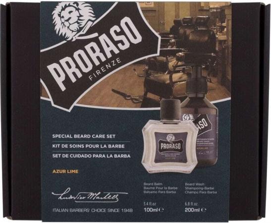 Proraso Azur Lime Special Beard Care Set Shampoo 200ml Combo: Beard Shampoo Azur Lime 200 Ml + Beard Balm Azur Lime 100 Ml