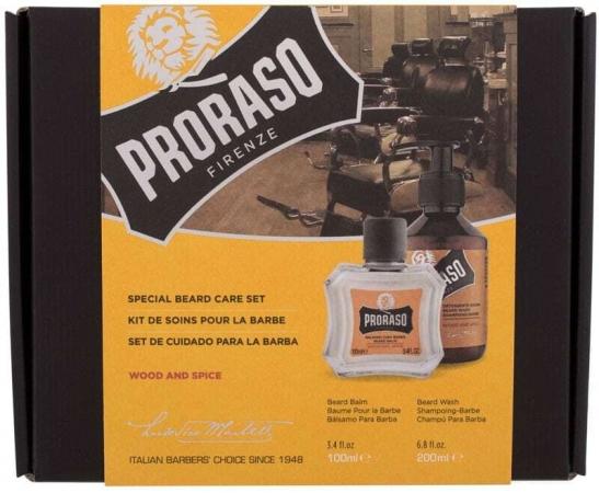 Proraso Wood & Spice Special Beard Care Set Shampoo 200ml Combo: Beard Shampoo Wood & Spice 200 Ml + Beard Balm Wood & Spice 100 Ml