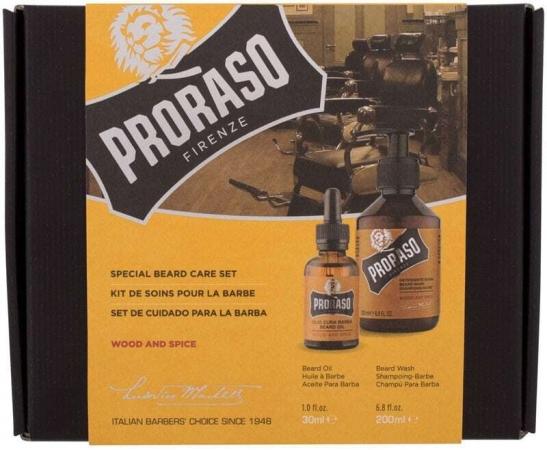 Proraso Wood & Spice Special Beard Care Set Shampoo 200ml Combo: Beard Shampoo Wood & Spice 200 Ml + Beard Oil Wood & Spice 30 Ml