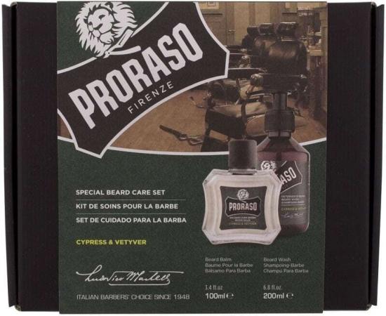 Proraso Cypress & Vetyver Special Beard Care Set Shampoo 200ml Combo: Beard Shampoo Cypress & Vetyver 200 Ml + Beard Oil Cypress & Vetyver 100 Ml