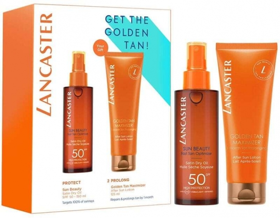 Lancaster Sun Beauty Sun Body Lotion 150ml Combo: Sun Beauty Satin Dry Oil SPF 50 150 Ml + Golden Tan Maximizer After Sun Lotion 125 Ml