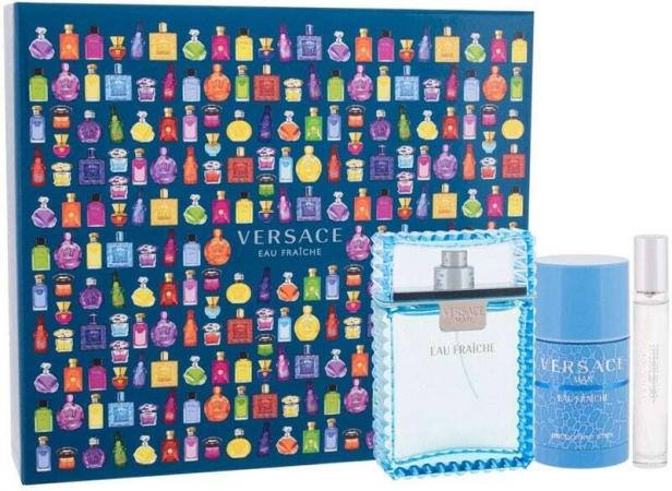 Versace Man Eau Fraiche Eau de Toilette 100ml Combo: Edt 100 Ml + Edt 10 Ml + Deostick 75 Ml