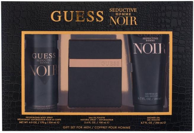 Guess Seductive Homme Noir Eau de Toilette 100ml Combo: Edt 100 Ml + Shower Gel 200 Ml + Deodorant 226 Ml