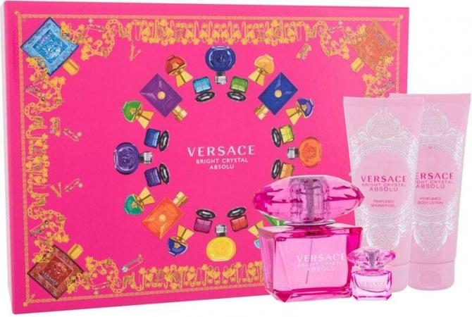 Versace Bright Crystal Absolu Eau de Parfum 90ml Combo: Edp 90 Ml + Shower Gel 100 Ml + Edp 5 Ml + Body Lotion 100 Ml