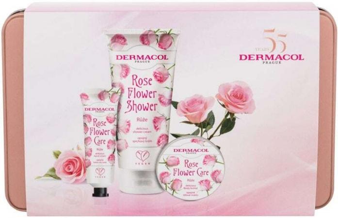 Dermacol Rose Flower Shower Cream 200ml Combo: Shower Gel Rose Flower 200 Ml + Hand Cream Rose Flower 30 Ml + Body Butter Rose Flower 75 Ml + Tin Box