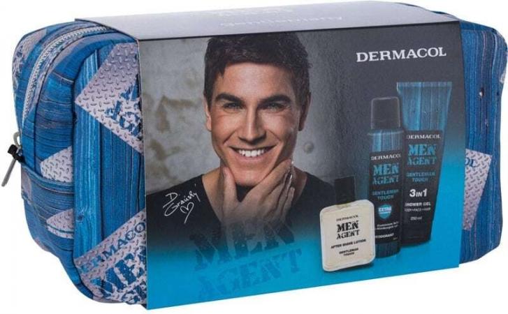 Dermacol Men Agent Gentleman Touch 3in1 Shower Gel 250ml Combo: Shower Gel 250 Ml + Deodorant 150 Ml + Aftershave Lotion 100 Ml + Cosmetic Bag